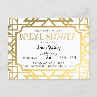 Bridal Shower Invitation Postcard Art Deco Gatsby