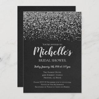 Bridal Shower Invitations, Silver, Black, Bridal Invitations