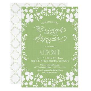 Bridal Shower Invitations - Vintage Floral Clover