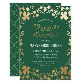 Bridal Shower Invitations, Vintage Green & Gold Invitations