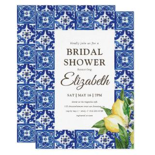 Bridal Shower Lemon Foliage Blue Mediterranean Invitations