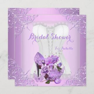 Bridal Shower Lilac Rose Hi Heel Lace Butterfly 2 Invitations