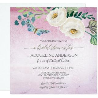Bridal Shower Modern Butterfly Roses Purple Wreath Invitation