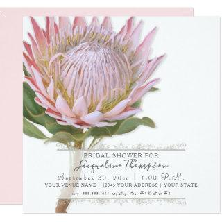 Bridal Shower Modern Elegant King Protea Flower Invitation