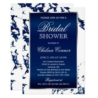 Bridal Shower - Navy Blue Marble, White & Silver Invitations