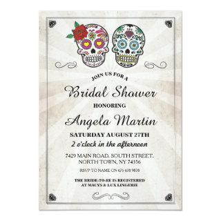 Bridal Shower Party Sugar Skull Cream Invite