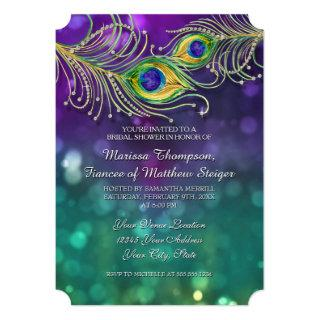 Bridal Shower Peacock Feather Jeweled Feathers Invitations