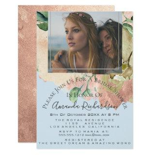 Bridal Shower Photo Floral Birthday Blue Peach Invitations