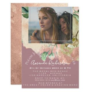 Bridal Shower Photo Floral Birthday Greenery Blush Invitations