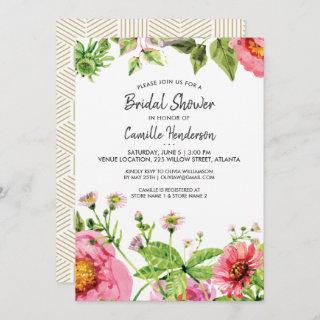 Bridal Shower Pink Blush Watercolor Peony Flowers Invitation