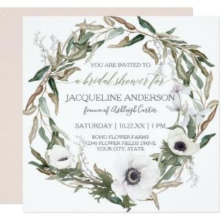 Bridal Shower Pink Rustic Winery Olive Leaf Wreath Invitations
