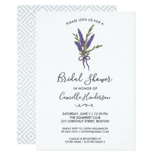 Bridal Shower Pretty Lavender Flower Bouquet Invitation