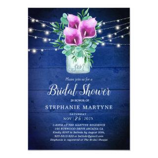 Bridal Shower Purple Calla Lily Lights Floral Invitations