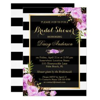 Bridal Shower Purple Floral Gold Frame Stripes Invitation