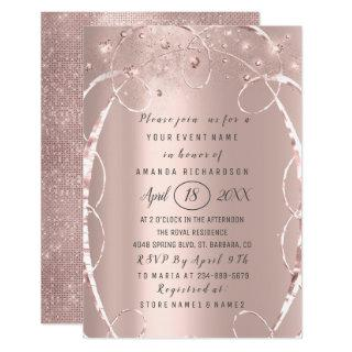 Bridal Shower Rose Gold Confetti Sweet 16th Invitations