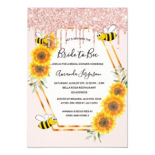 Bridal shower rose gold glitter drips bride to bee invitation