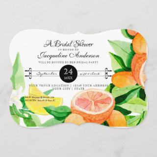 Bridal Shower Rustic Outdoor Garden Lemon Oranges Invitations