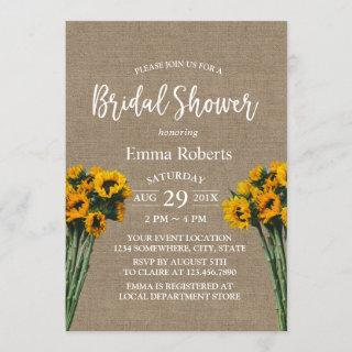 Bridal Shower Rustic Sunflower Vintage Burlap Invitation