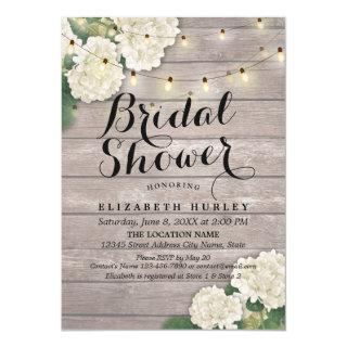 Bridal Shower Rustic Wood Hydrangea Flowers Lights Invitations