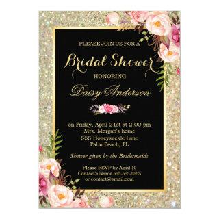 Bridal Shower Shiny Gold Sparkles Floral Invitations