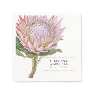 Bridal Shower Simple Modern Floral Pink Protea Paper Napkins