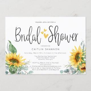 Bridal Shower Sunflower with Yellow Hearts Invitations