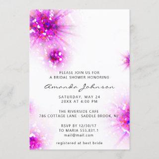Bridal Shower Sweet 16th Abstract Pink White Invitation