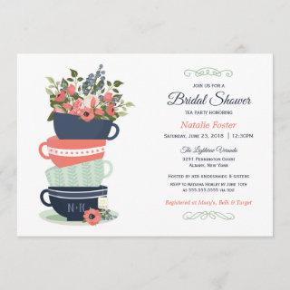 Bridal Shower Tea Party Invitation | Blue & Coral