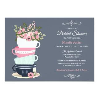 Bridal Shower Tea Party Invitation | Blue & Pink
