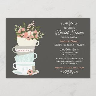 Bridal Shower Tea Party Invitations | Grey Pink Sky