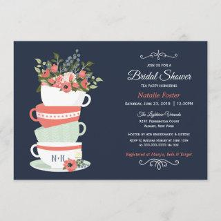 Bridal Shower Tea Party Invitations | Navy & Coral