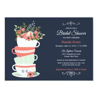 Bridal Shower Tea Party Invitation | Navy & Coral