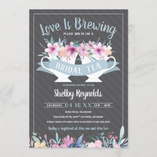 Bridal Shower Tea Party Invitations with Flowers