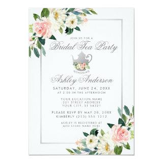 Bridal Shower Tea Party Pink Floral Silver Invite