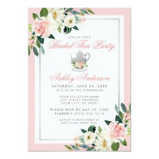 Bridal Shower Tea Party Pink Silver Floral Invite