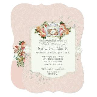 Bridal Shower Vintage Elegant Rose Floral Shaped Invitation
