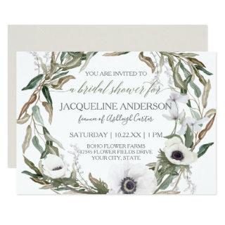 Bridal Shower Watercolor Anemone Olive Leaf Wreath Invitations