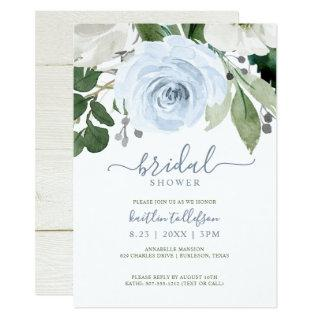 Bridal Shower Watercolor Bouquet Dusty Blue Invitation