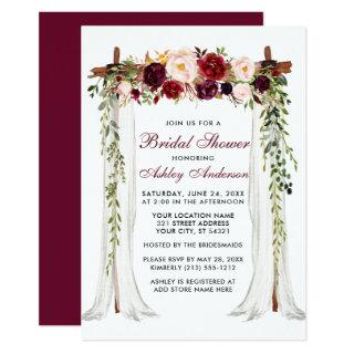 Bridal Shower Watercolor Burgundy Floral Canopy Invitations