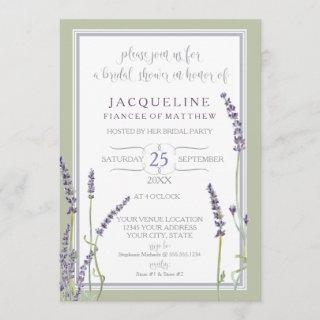 Bridal Shower Watercolor French Lavender Flowers Invitations