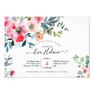 Bridal Shower, Watercolor Garden Roses, Red Ombre Invitation