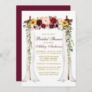 Bridal Shower Watercolor Mixed Floral Canopy Gold Invitation