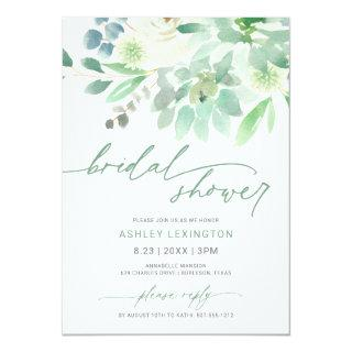 Bridal Shower Watercolor Succulent Greenery Invitations