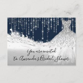 Bridal Shower Waves Glitter Gray Grey Navy Spark Invitations