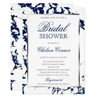 Bridal Shower - White, Navy Blue Marble & Silver Invitation