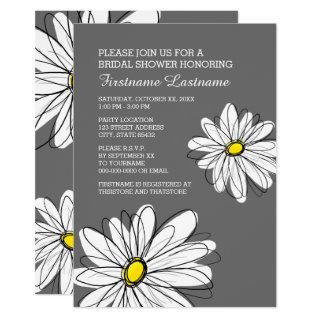 Bridal Shower with Modern Daisy Flowers Invitations