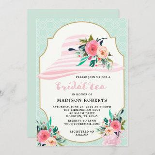 Bridal Tea Hat Watercolor Flowers Invitations