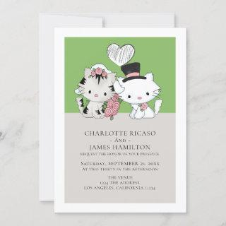 Bride and Groom Cat Themed Wedding Announcement