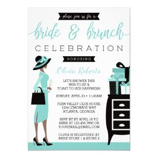Bride & Brunch Shower Invitations, Blue, Black Invitations