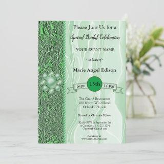 Bride Celebration Green Foil & Silk with Pearls